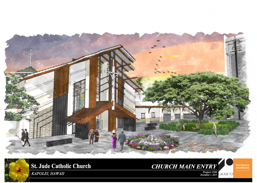 The main entry to the church is from a large courtyard, which highlights the master plan theme of Ohana.